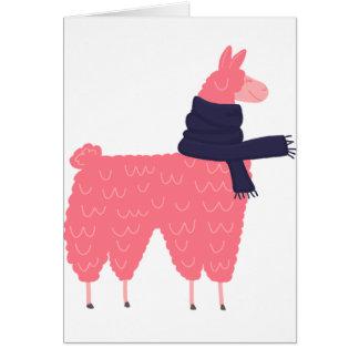 Cartão Lama cor-de-rosa que veste um lenço