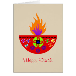 Cartão Lâmpada colorida Diya de Diwali