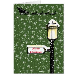 Cartão LÂMPADA de RUA NEVADO do NATAL por Slipperywindow