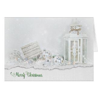 Cartão Lanterna e ornamento do Natal na neve