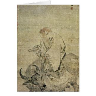 Cartão Lao-tzu que monta seu boi, chinês, dinastia de