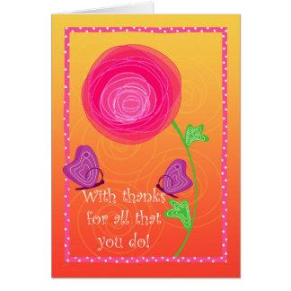 Cartão Laranja bonito do rosa das borboletas das flores