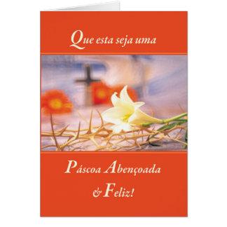 Cartão Laranja &Joyous abençoada Religiou da páscoa do