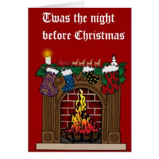Cartão Lareira na Noite de Natal