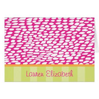 Cartão Lauren - pontos cor-de-rosa e listras do limão