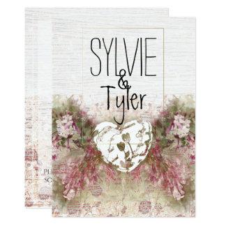 Cartão Lavanda branca bonito & coração floral prudente
