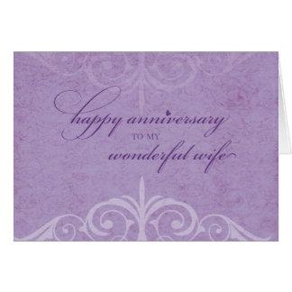 Cartão Lavanda da celebração do aniversário de casamento