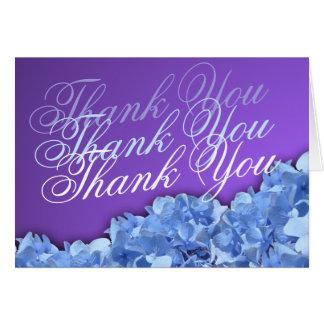 Cartão Lavanda e obrigado azul dos Hydrangeas você