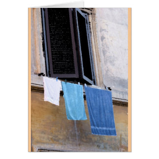 Cartão Lavanderia e janela em Roma, Italia