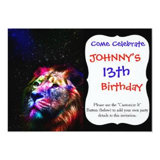 Cartão Leão do espaço - leão colorido - arte do leão -