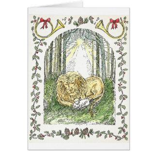 Cartão Leão e cordeiro