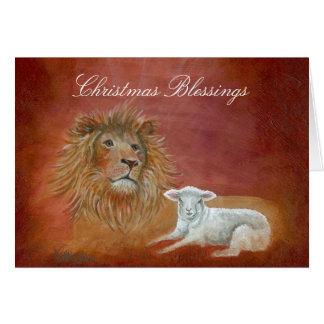 Cartão Leão e cordeiro, bênçãos do Natal