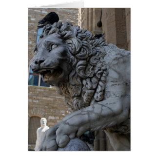 Cartão Leão no Loggia Dei Lanzi