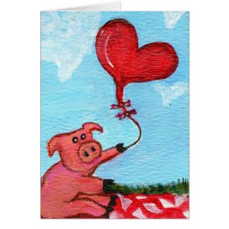 Cartão Leitão com o balão dado forma coração