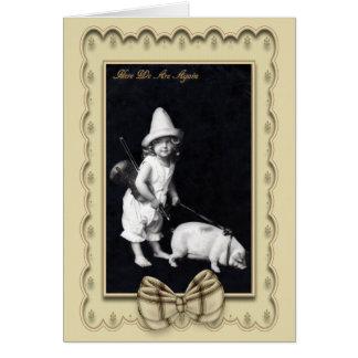 Cartão leitão e de I do vintage da fotografia de