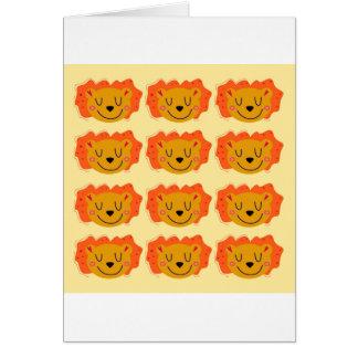 Cartão Leões bonitos no ouro