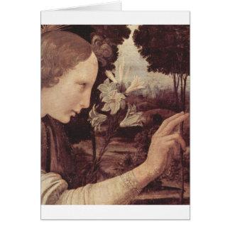 Cartão Leonardo da Vinci que pinta cerca de 1472-1475