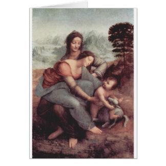 Cartão Leonardo da Vinci que pinta cerca de 1510