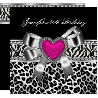 Cartão Leopardo cor-de-rosa do preto da zebra do partido