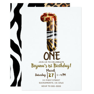 Cartão Leopardo da zebra da selva do safari UM partido de