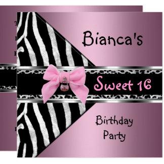 Cartão Leopardo preto de prata cor-de-rosa da zebra 16 do