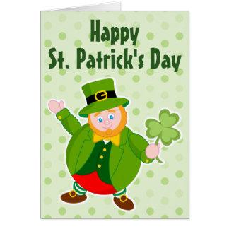 Cartão Leprechaun do dia de um St Patrick que guardara um