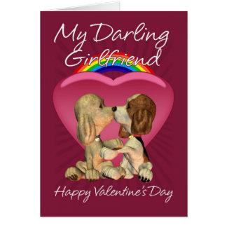 Cartão lésbica do dia dos namorados com dois Pupp