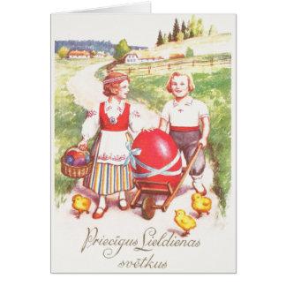 Cartão letão da páscoa do vintage