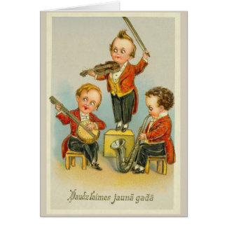 Cartão letão do feliz ano novo do vintage