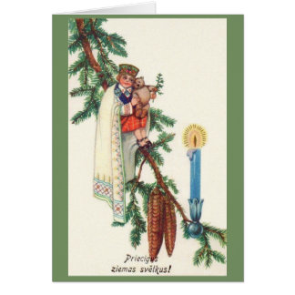Cartão letão do Natal do vintage