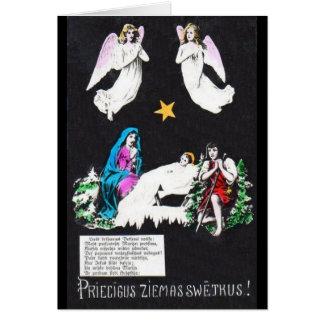 Cartão letão religioso do Natal do vintage
