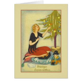 Cartão letão retro do Natal