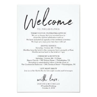 Cartão Letra da boa vinda do hotel do itinerário do