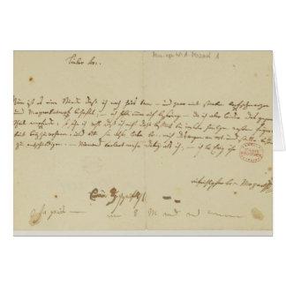 Cartão Letra de Mozart a um freemason, em janeiro de 1786