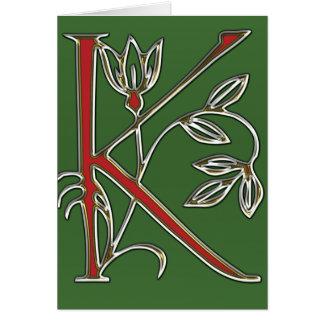 Cartão Letra florido k