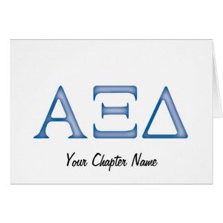 Cartão Letras do delta do alfa Xi