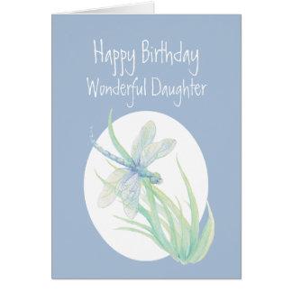 Cartão Libélula maravilhosa da aguarela do aniversário da