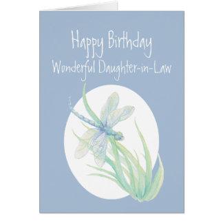 Cartão Libélula maravilhosa do aniversário da nora