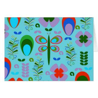 Cartão libélula no jardim