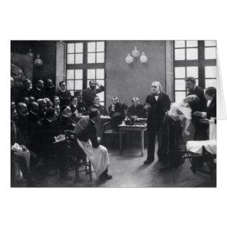 Cartão Lição com doutor Charcot no Salpetriere