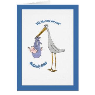 Cartão Licenças de parto, cegonha e bebê
