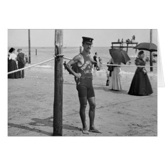 Cartão Lifeguard da praia de Brigghton, 1900s adiantados