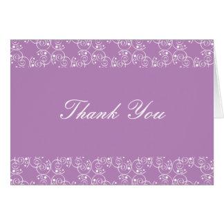 Cartão Lilac e obrigado que espiral branco dos