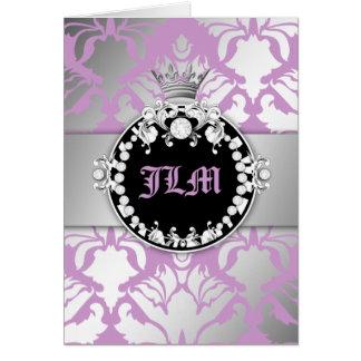 Cartão Lilac roxo doce da rainha do Shimmer do damasco