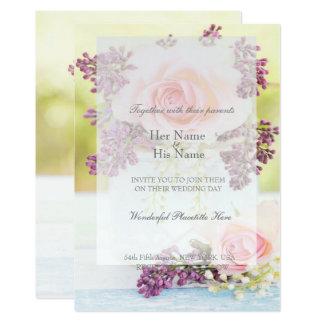 Cartão Lilacs e casamento vintage dos rosas
