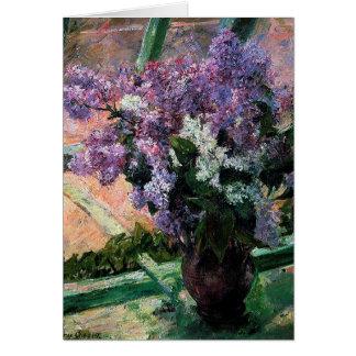 Cartão Lilacs em uma janela