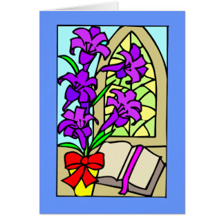 Cartão Lillies roxo para a páscoa