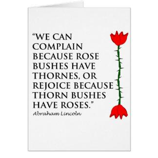 Cartão Lincoln: em Thornes e em rosas (um aumentou).