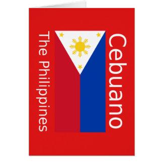 Cartão Língua de Cebuano e bandeira de Filipinas