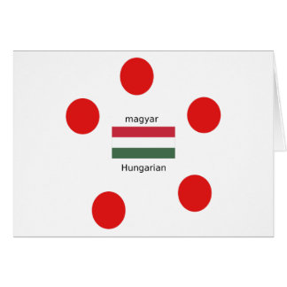 Cartão Língua de Hungria e design da bandeira